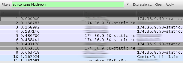Filtering packets in Wireshark.